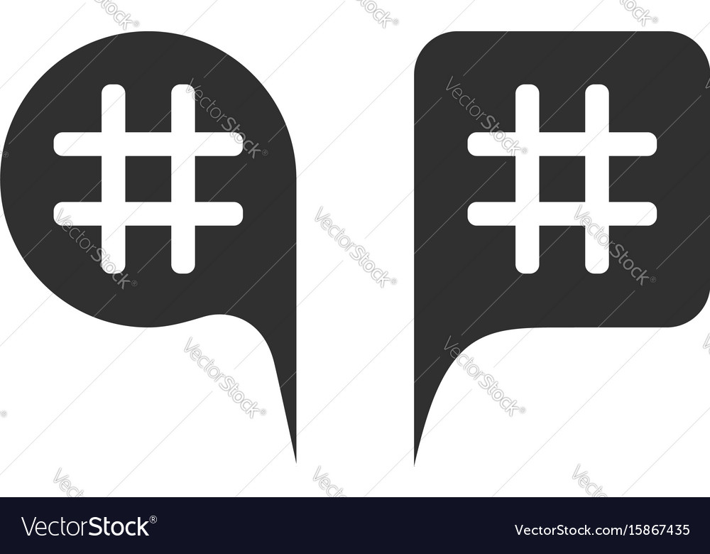 Hashtag in black speech bubbles