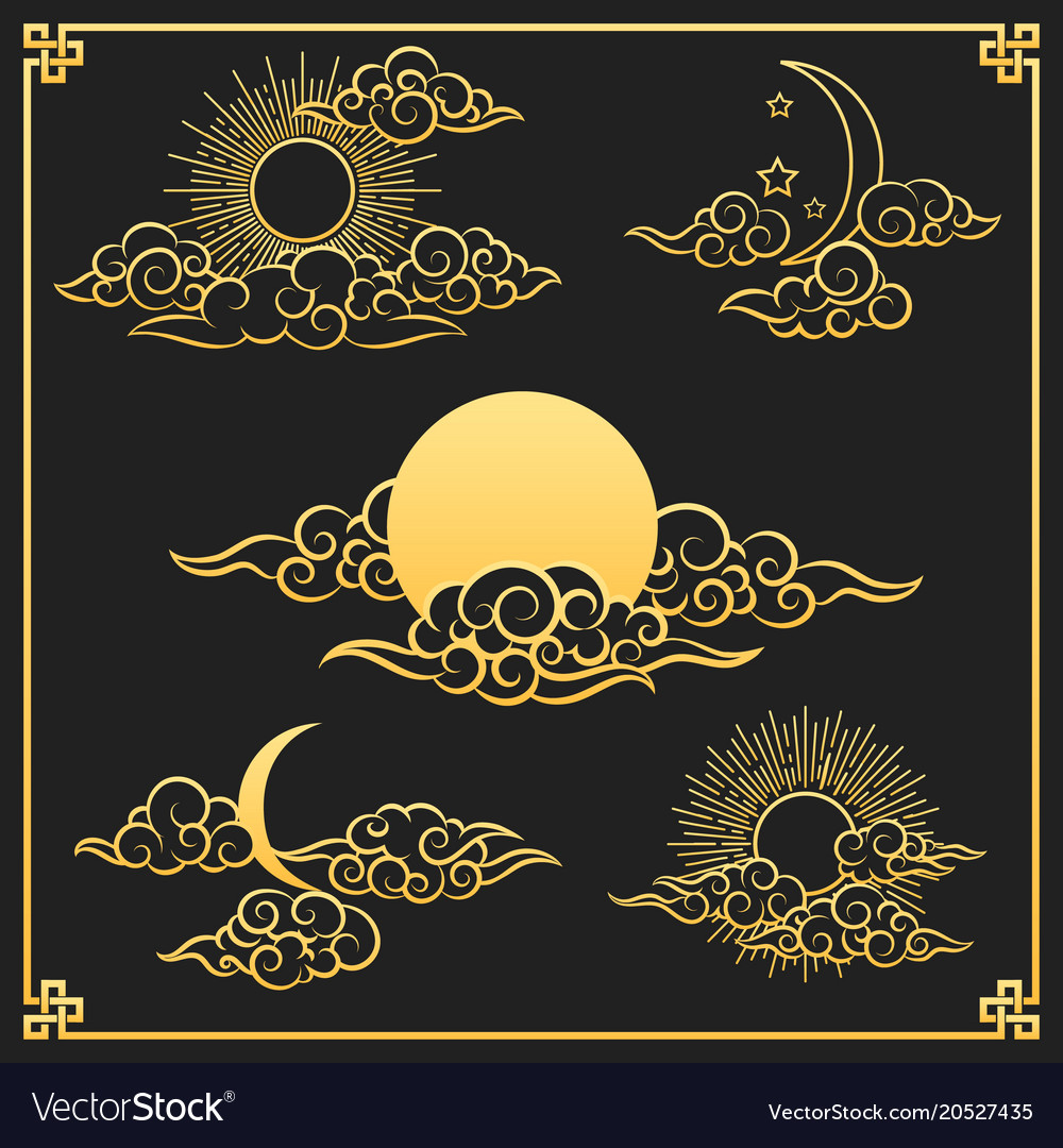 Oriental gold clouds sun and moon