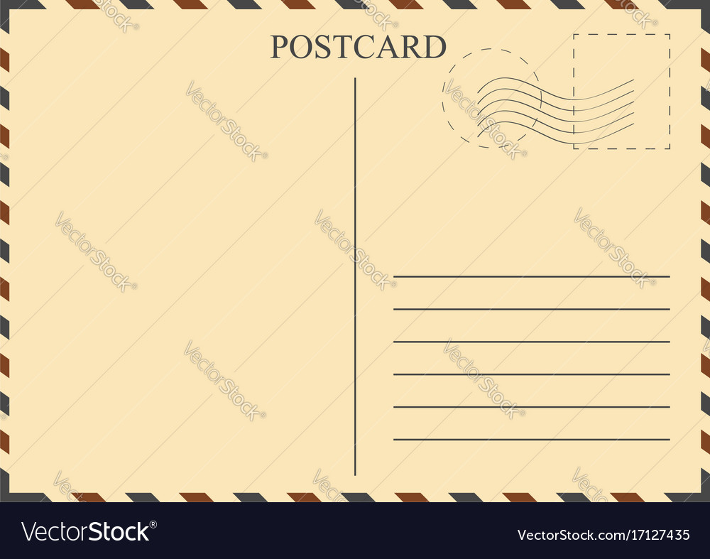 Postcard template vintage postcard with stamps