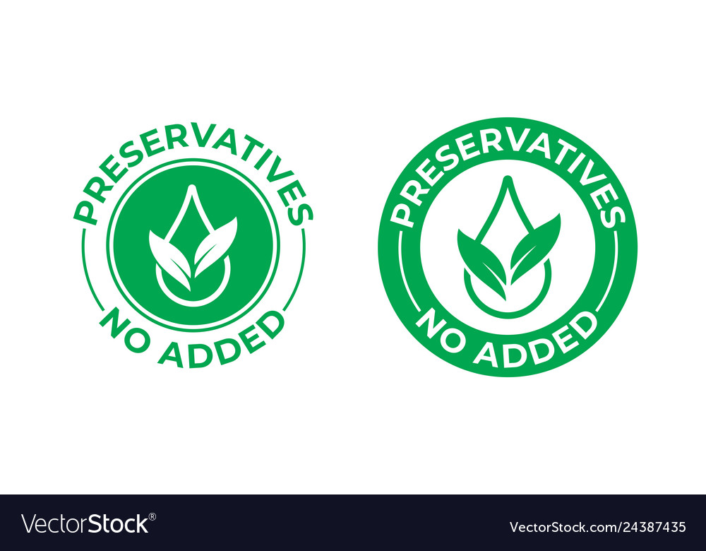 Preservatives no added icon green leaf and drop