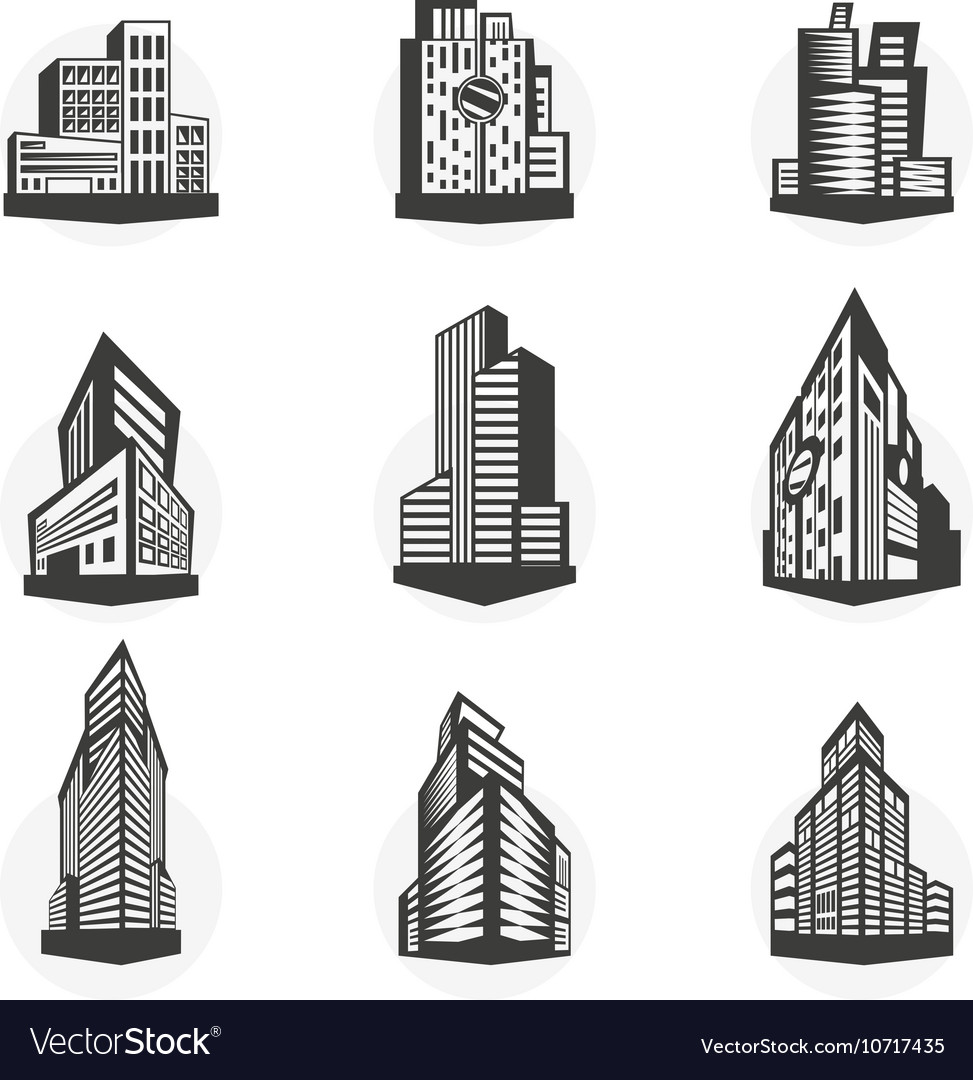 Set of black high-rise buildings and facades of
