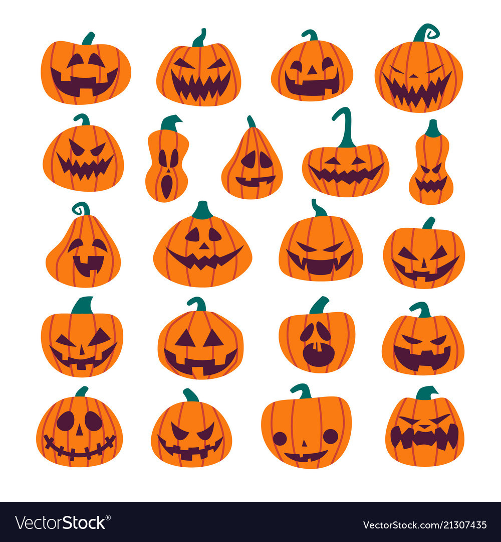 Set of halloween scary pumpkins flat style spooky