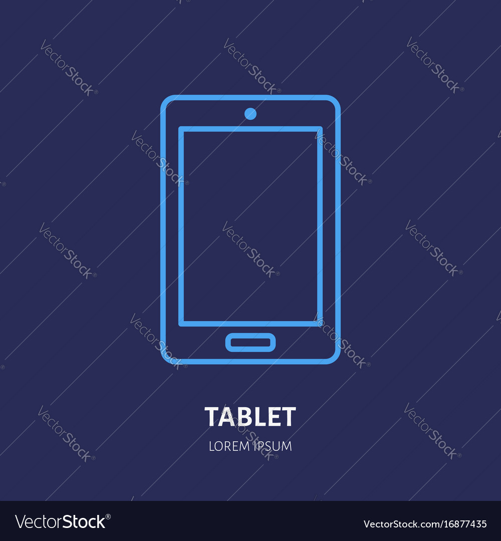 Tablet with blank screen flat line style icon vector image