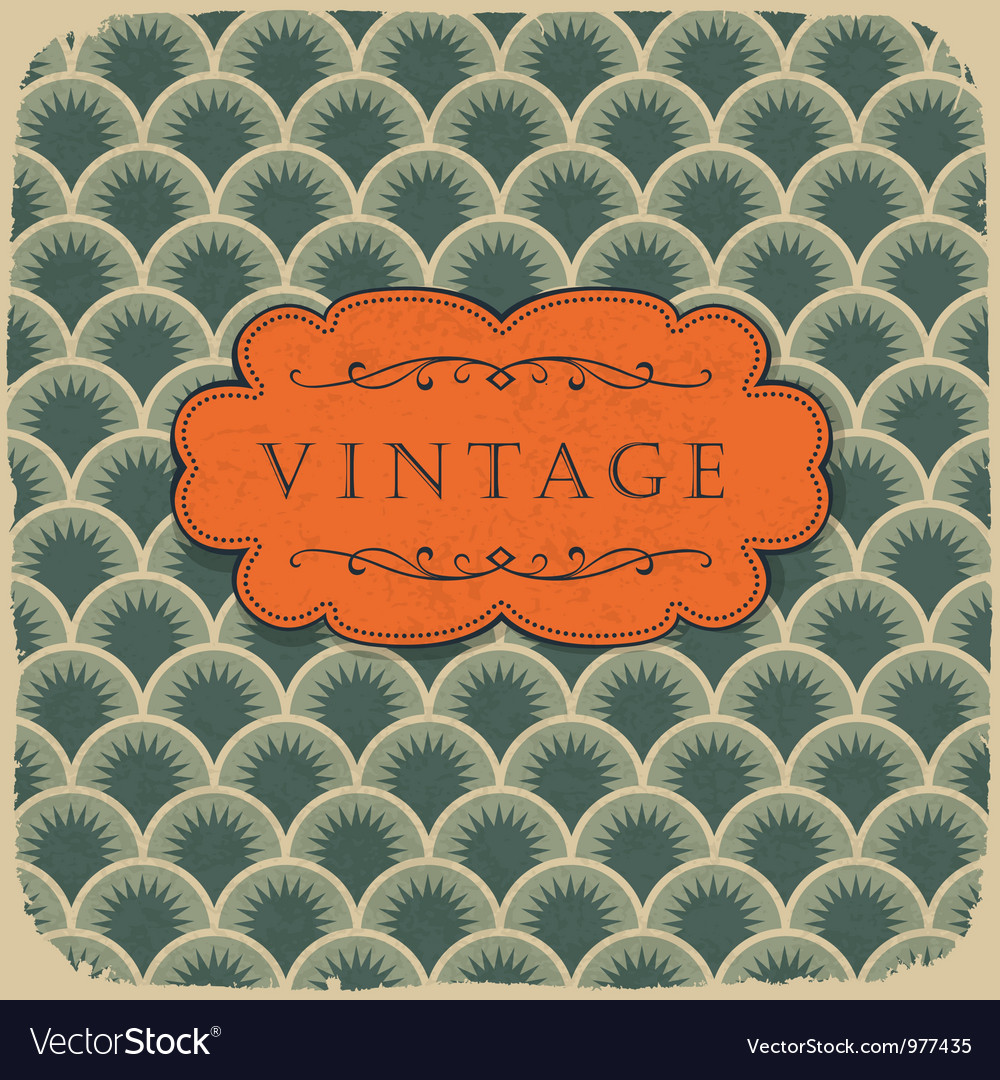 Vintage scale pattern with retro label
