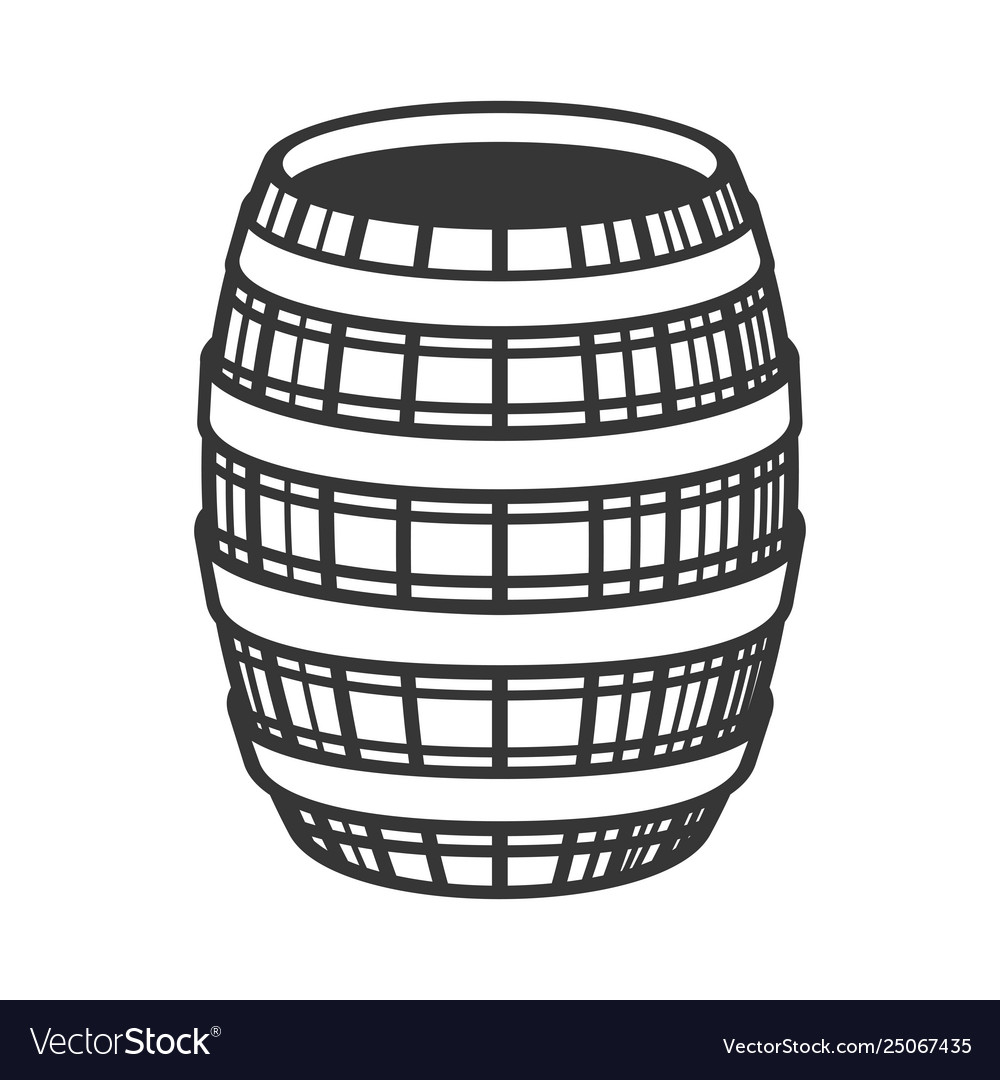 Wine wooden barrel icon on white background