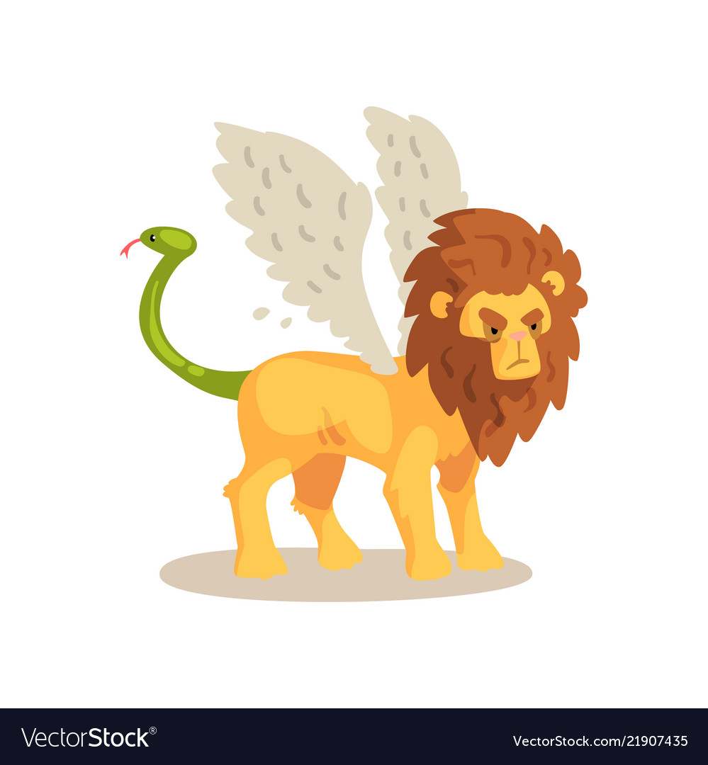 Winged lion ancient mythical creature cartoon