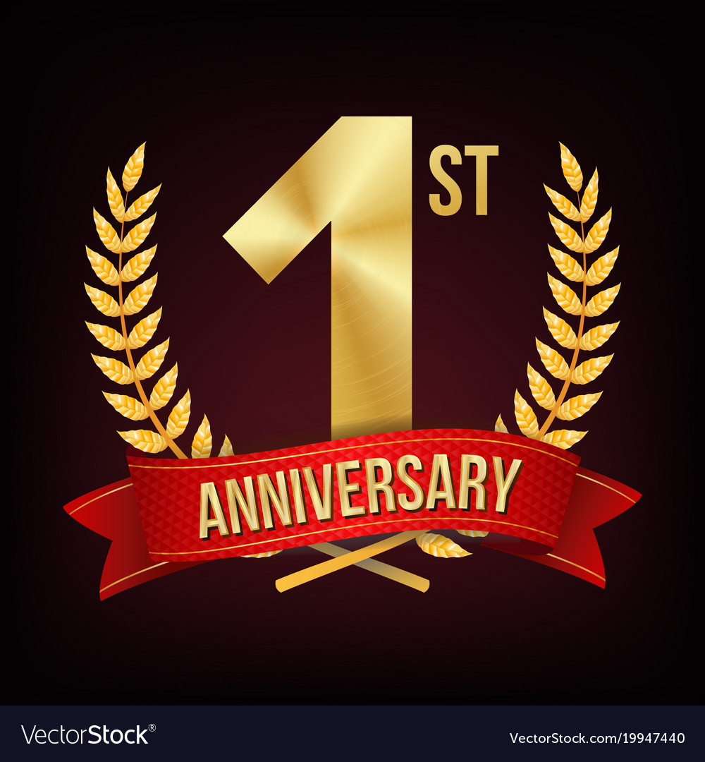 1 year anniversary one first celebration vector image