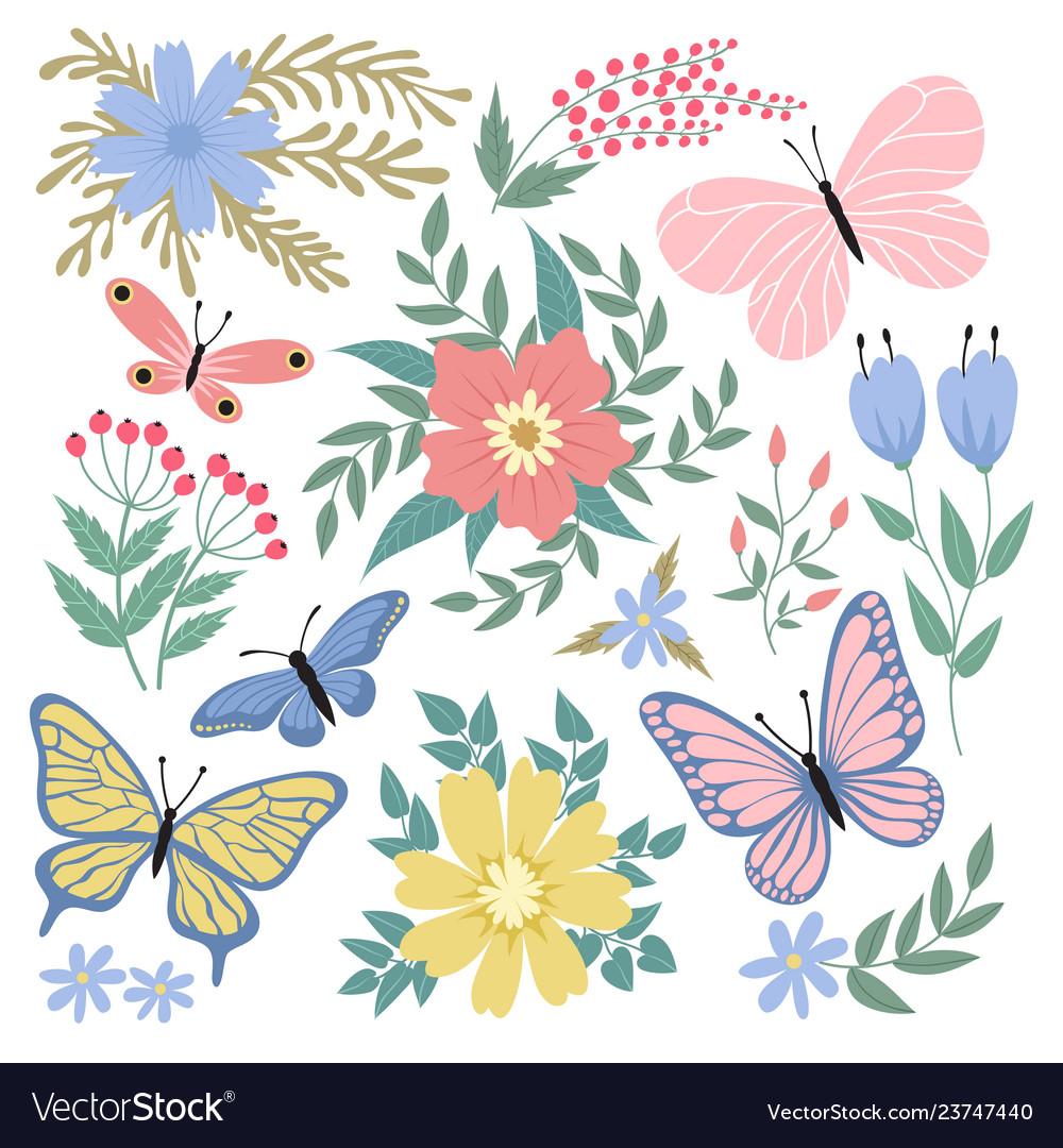 Butterflies and flowers hand drawn summer
