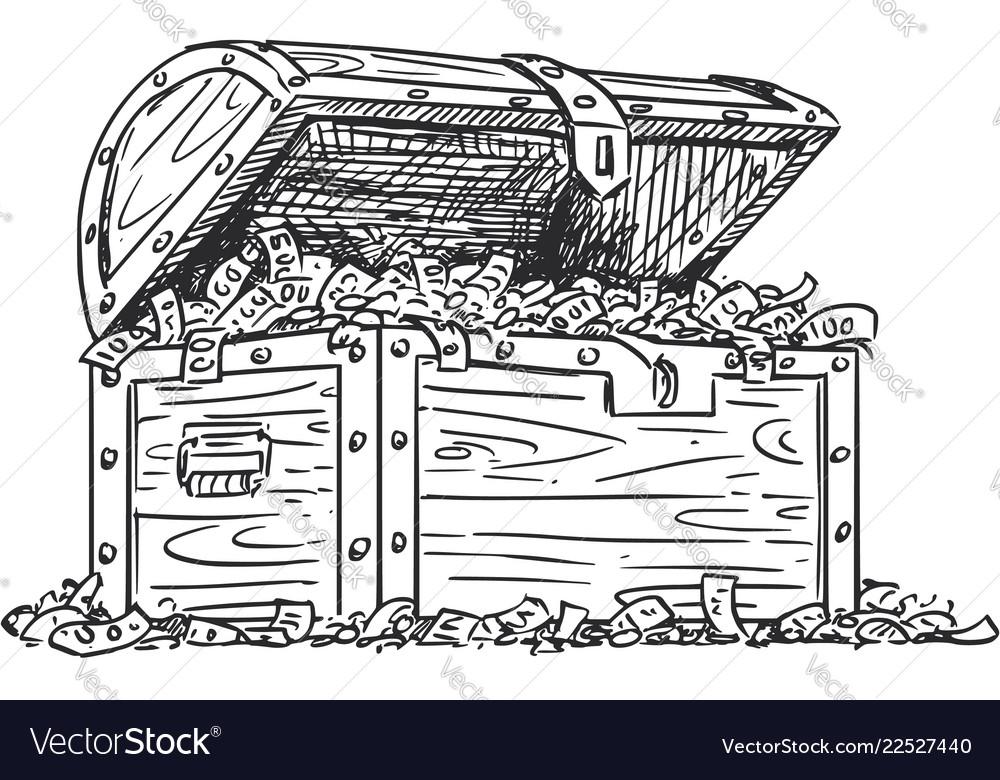 Cartoon drawing wooden treasure chest full of