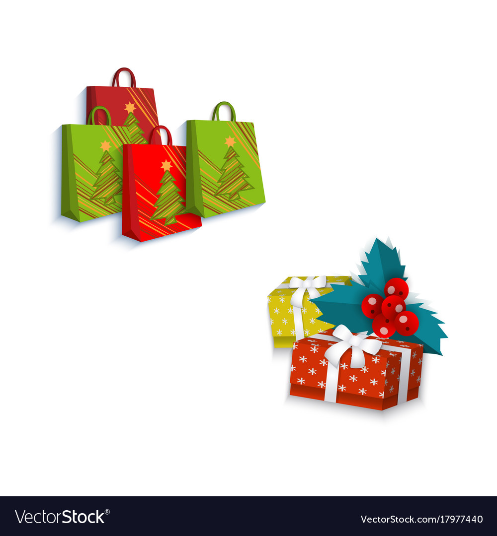 Flat winter holiday symbols objects set