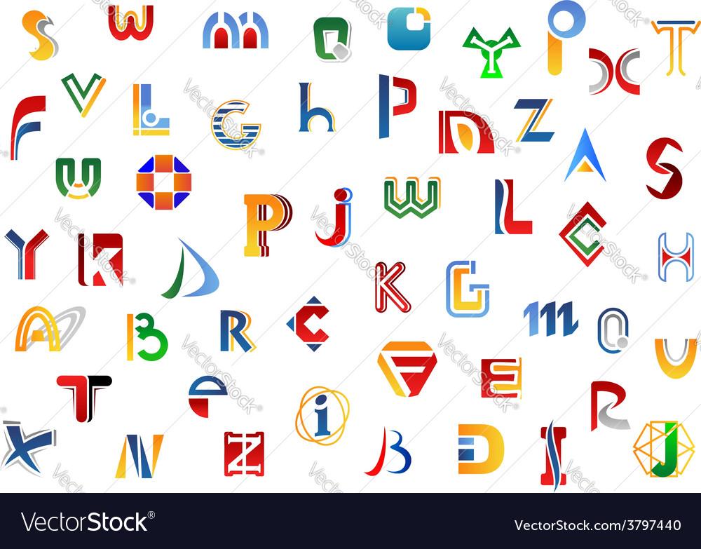 Full alphabet letters set
