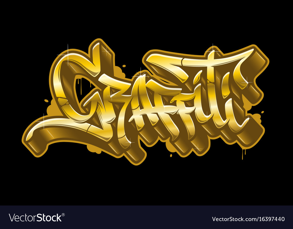graffiti word in golden graffiti style gold text vector image