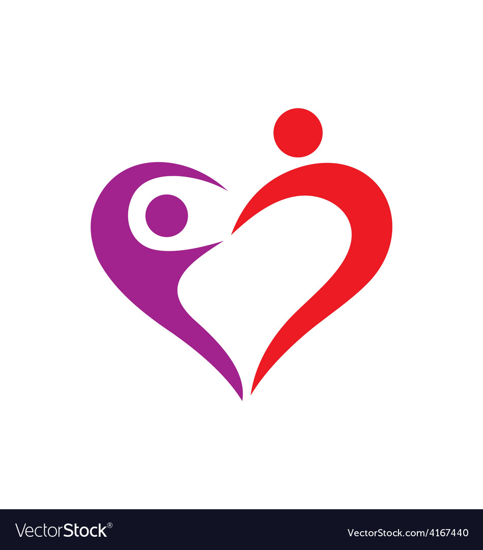 Heart love couple logo