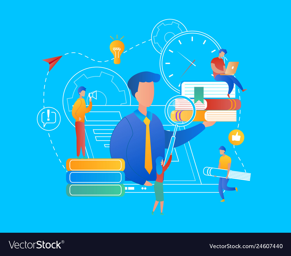 Man with heap of books on palm at laptop screen