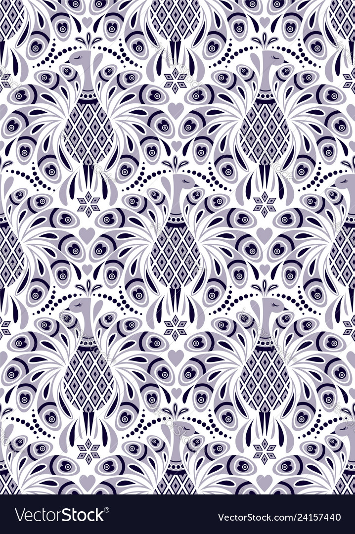 Pattern with peacock and abstract flowers