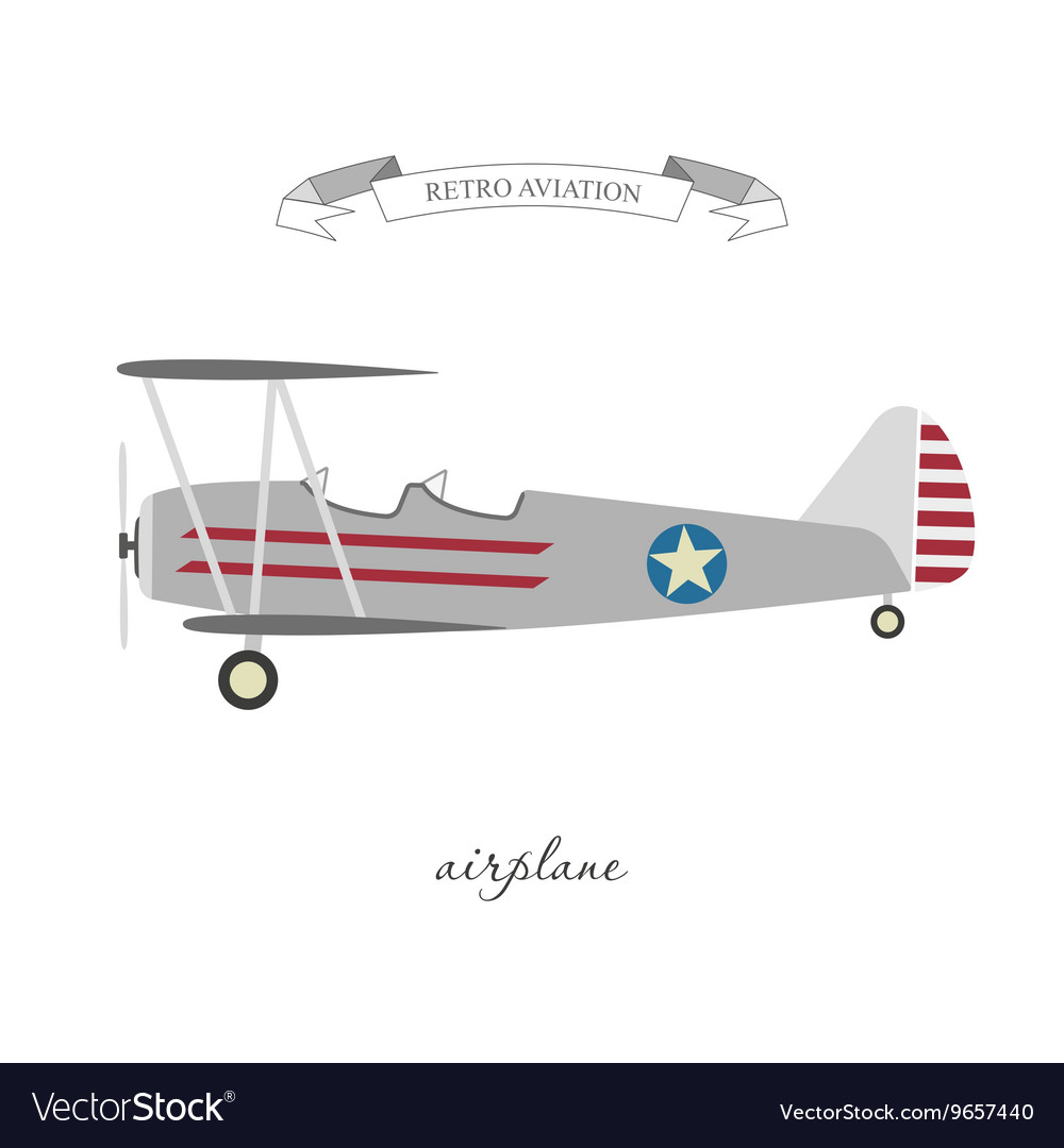 Retro pattern airplane in a flat style vector