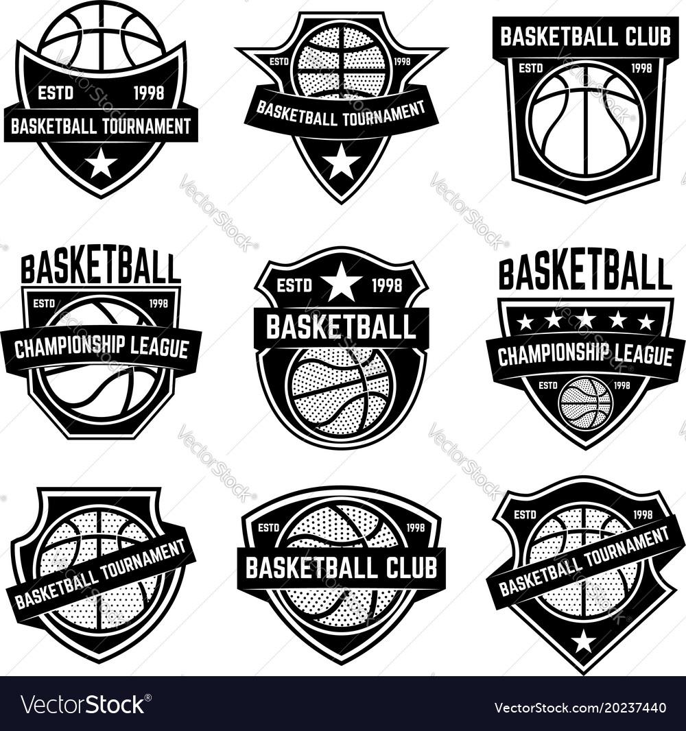 Set of basketball sport emblems design element vector image