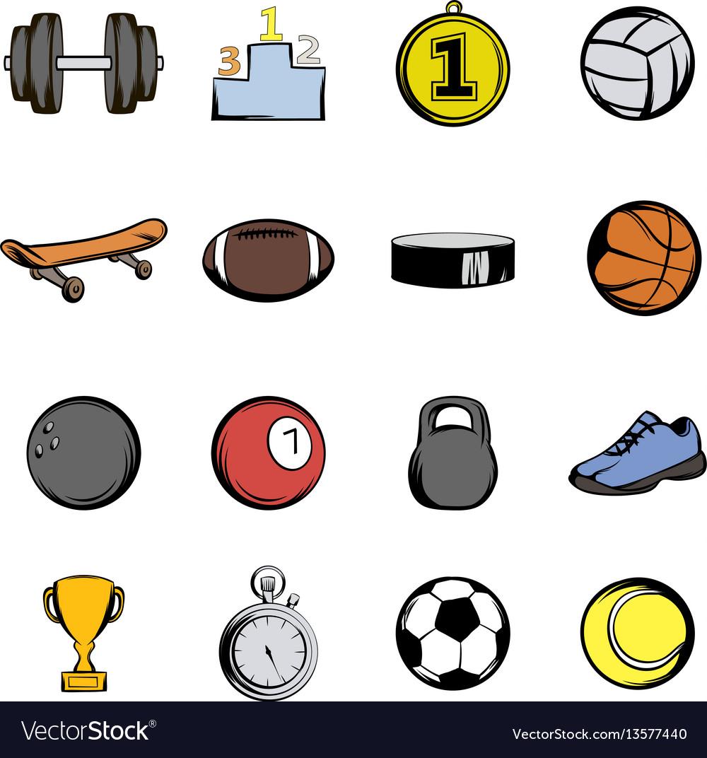 Sports icons set cartoon vector image