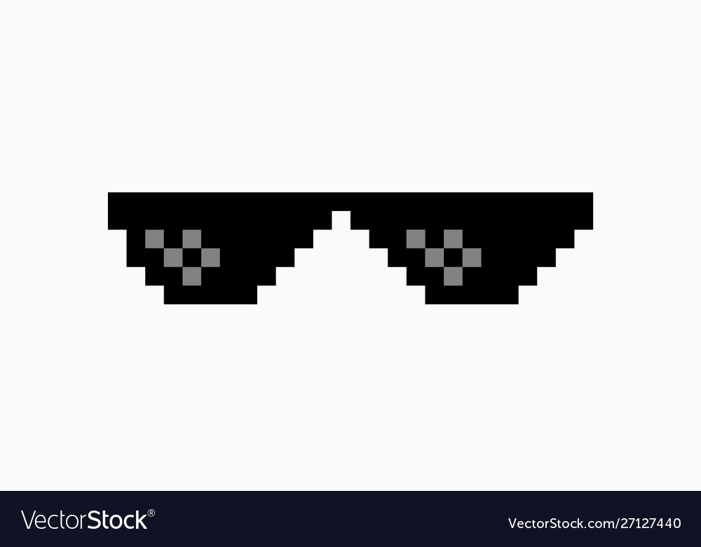 Thug Life Meme Pixel Glasses Icon Sunglasses Hip Vector Image