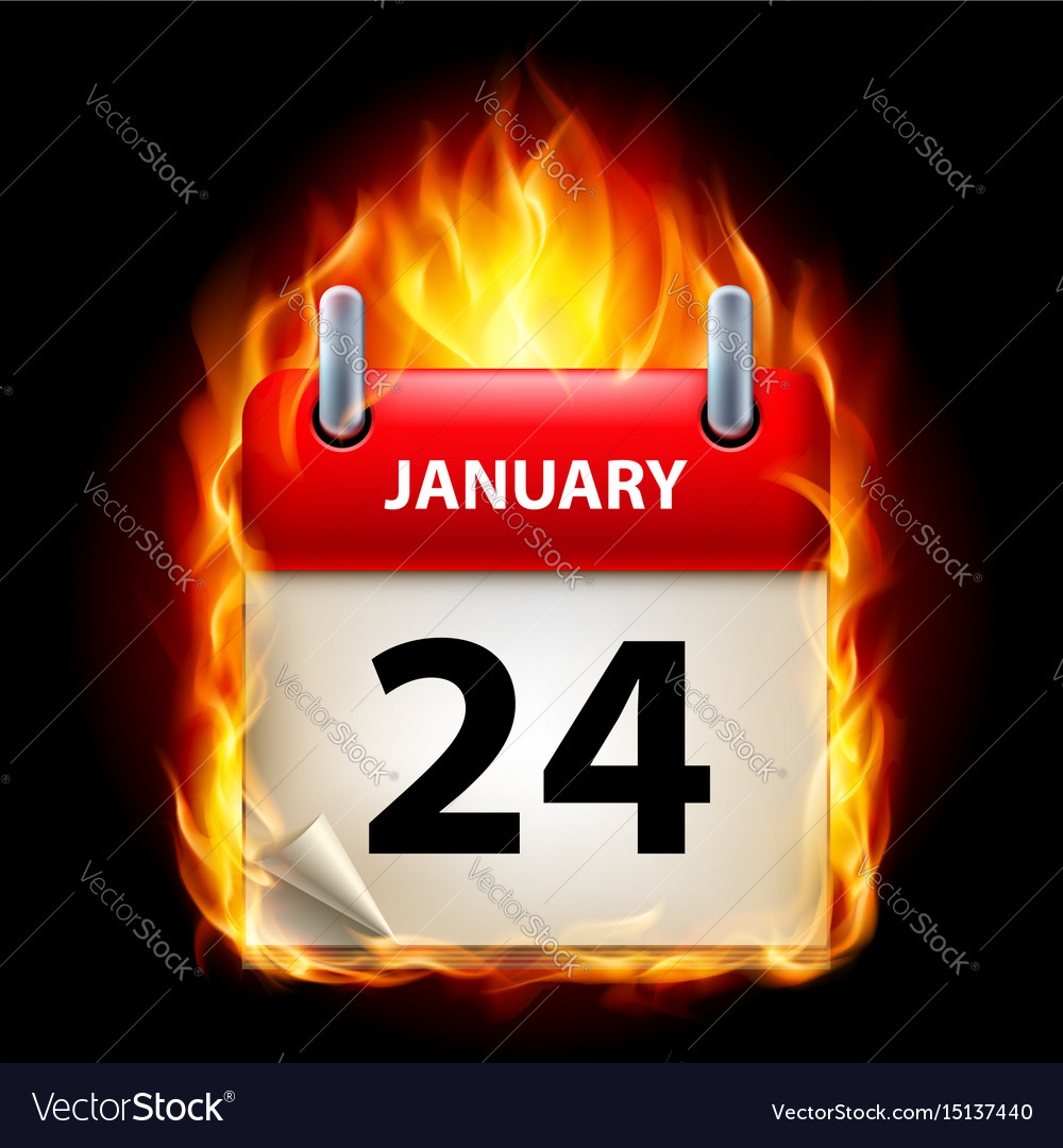 Twenty-fourth january in calendar burning icon on
