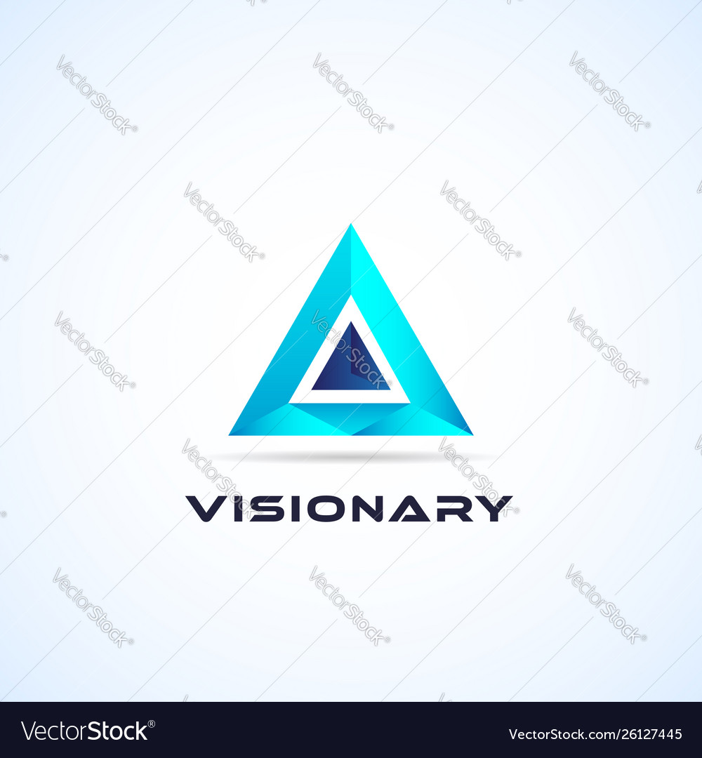 Abstract blue geometric triangle logo sign symbol