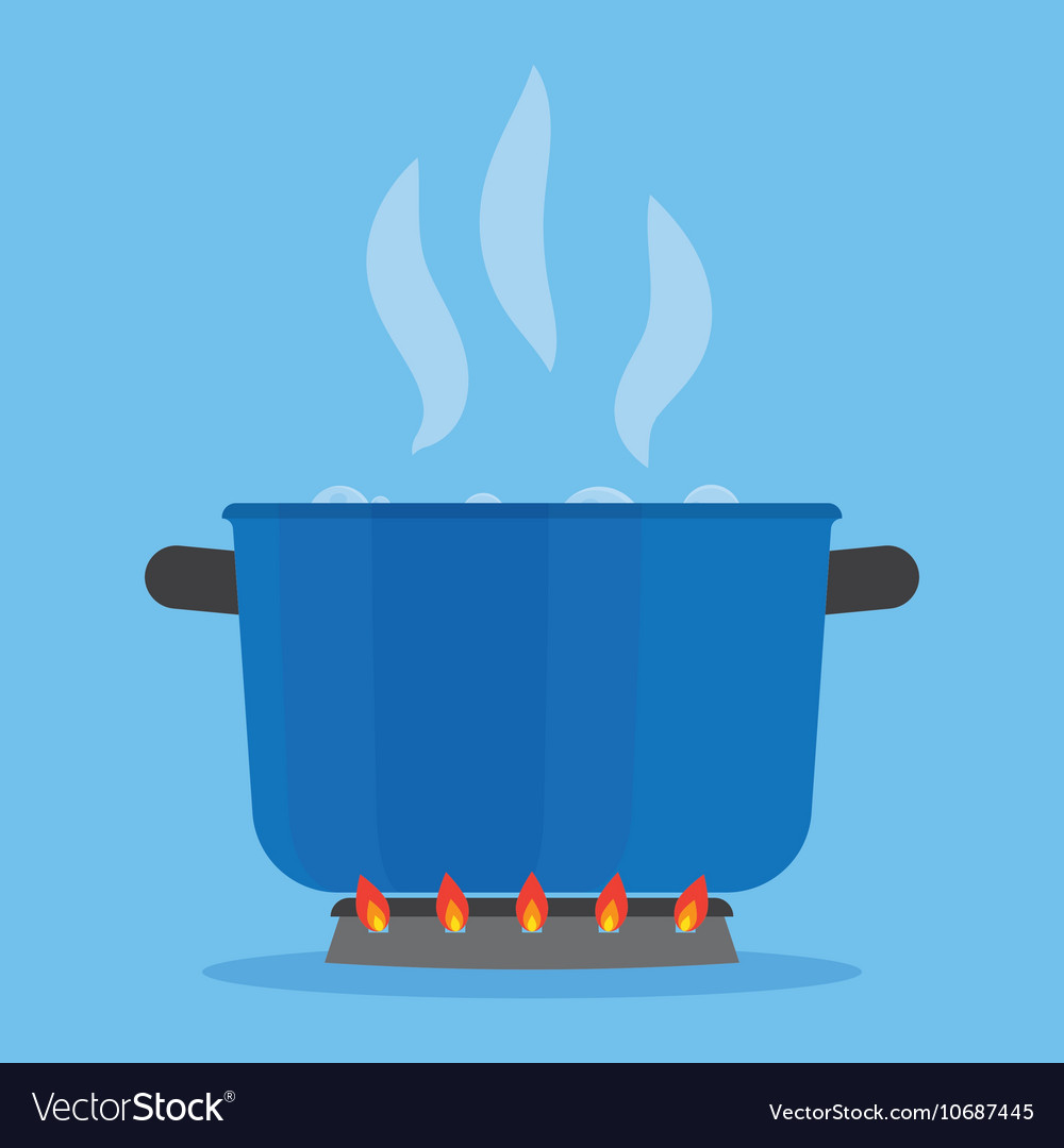 Boiling water in pan on stove in the kitchen