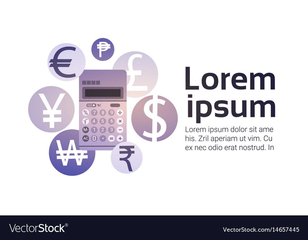 Calculator Money Exchange Finance Banking Currency Vector Image