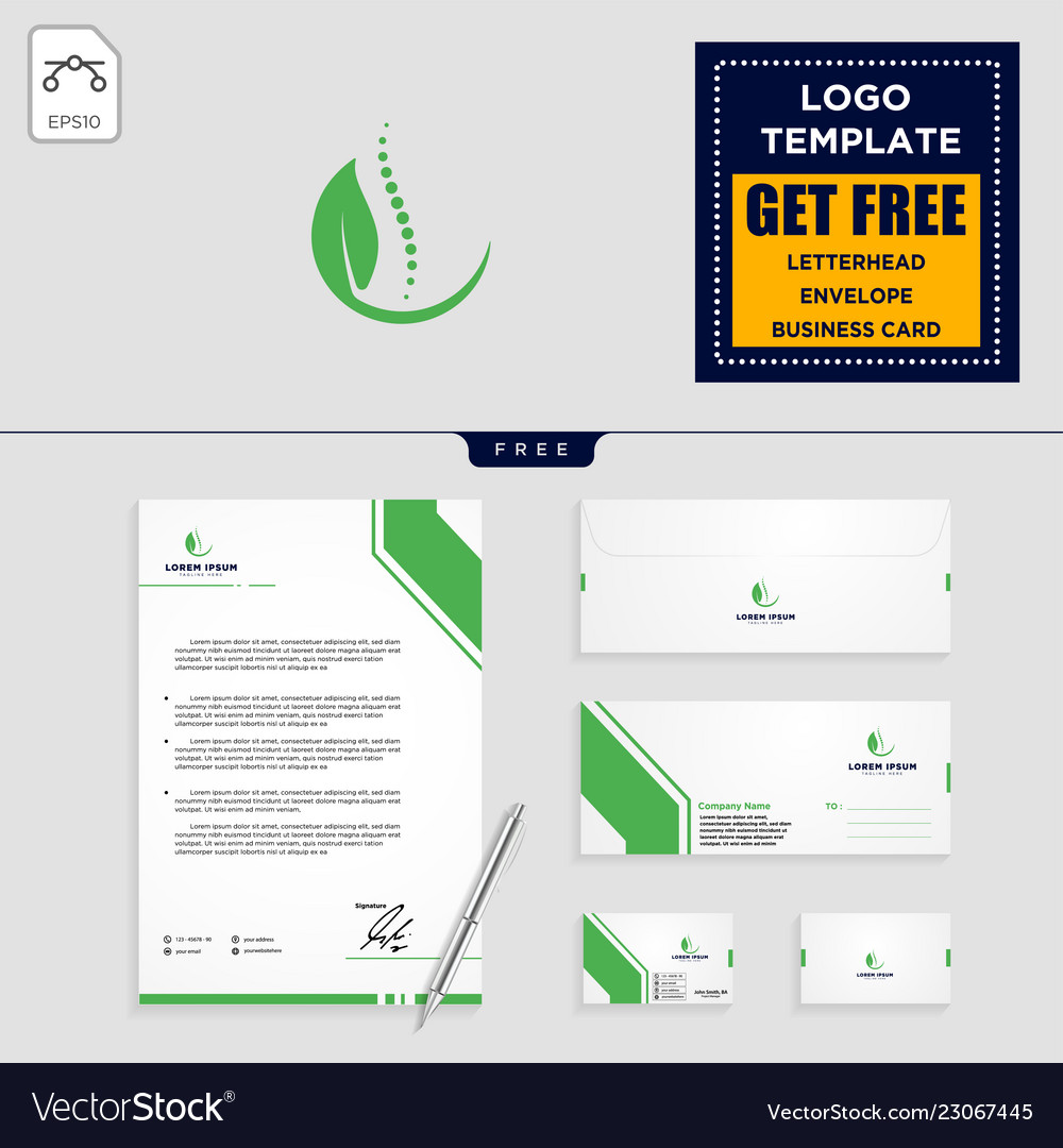 Chiropractic leaf logo template and stationery