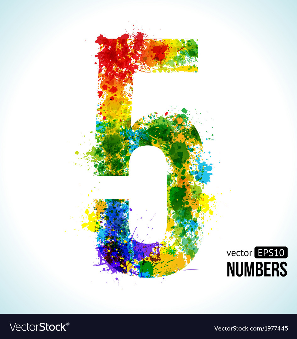 Color paint splashes Gradient Number 5 Royalty Free Vector