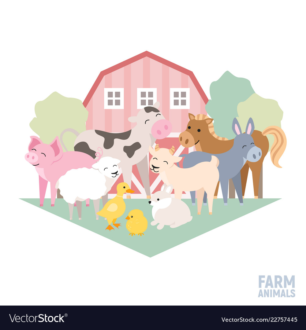 Cute farm animal kid set cow pig lamb donkey