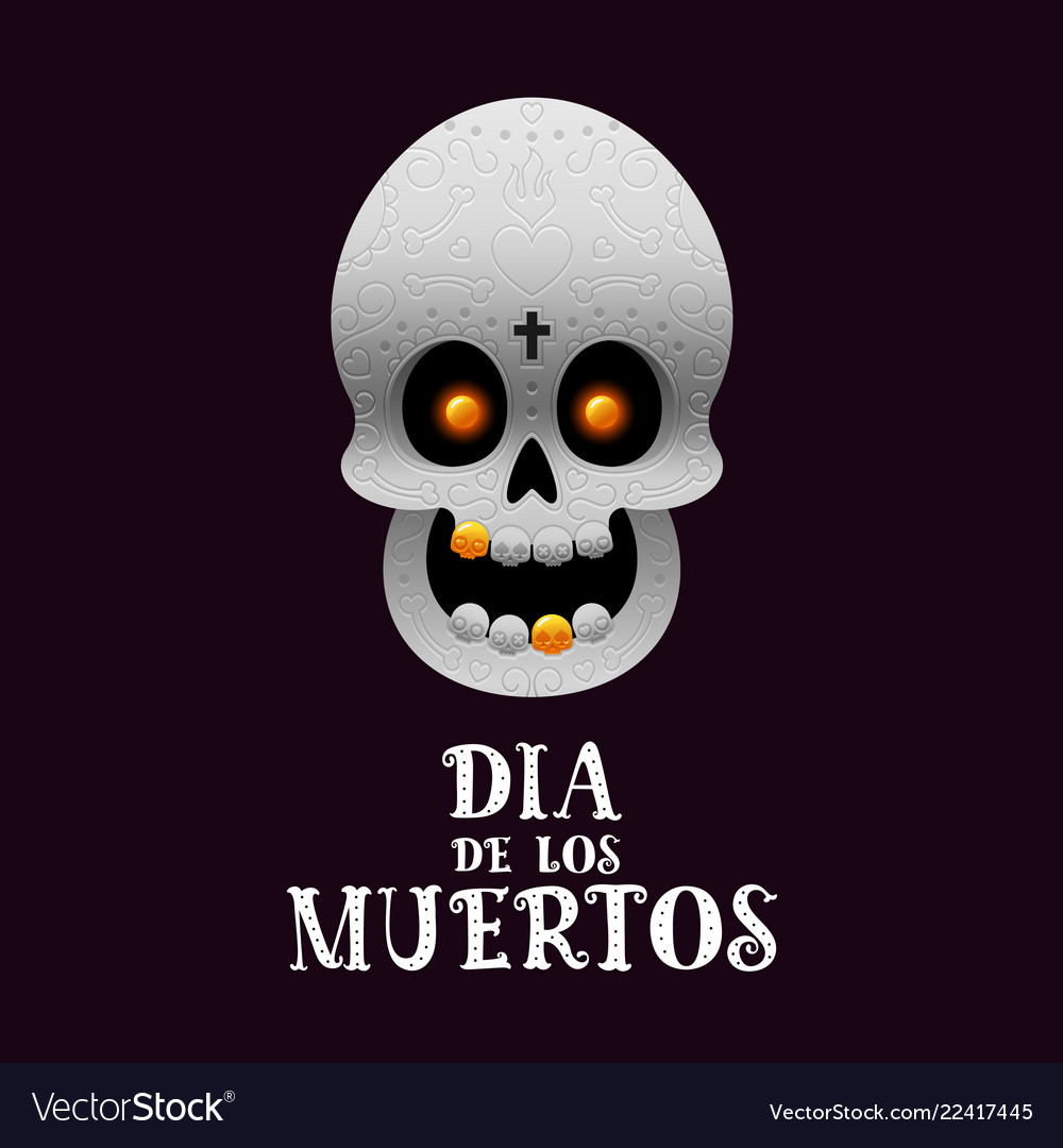 Day of the dead poster with skull on dark