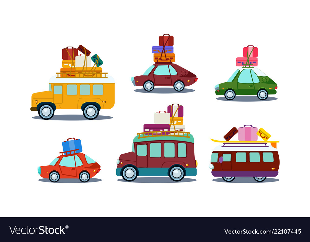 Flat set of colorful automobiles with