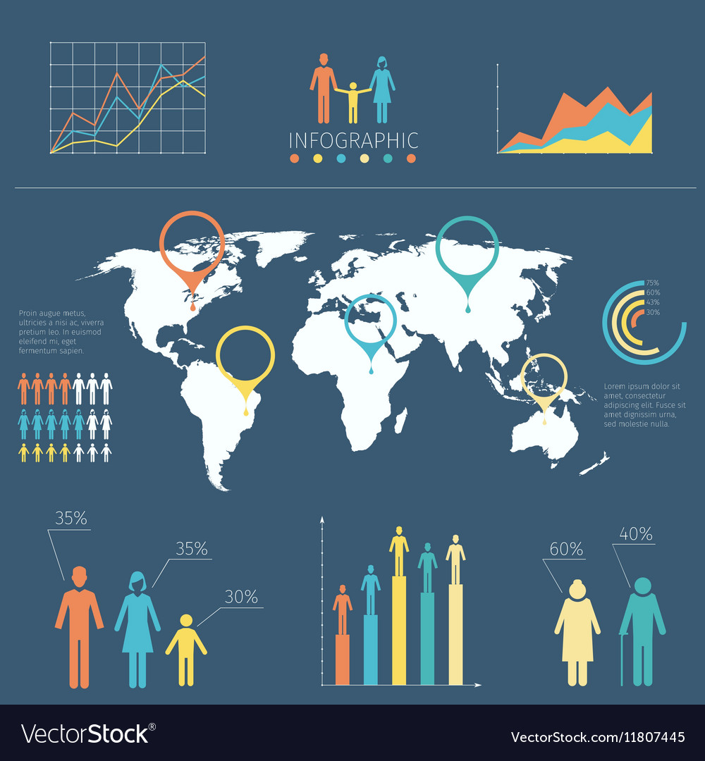 Infographic with people icons and charts