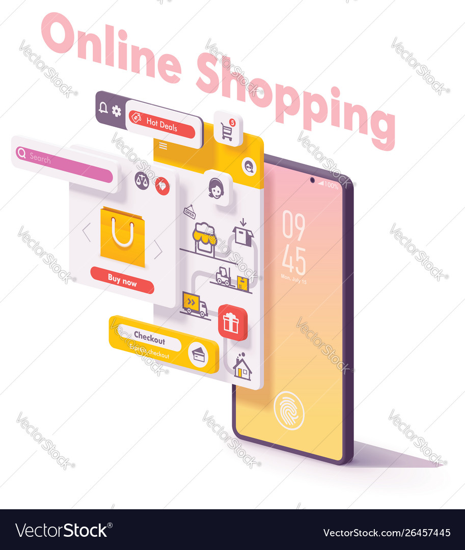 Mobile online shopping app concept