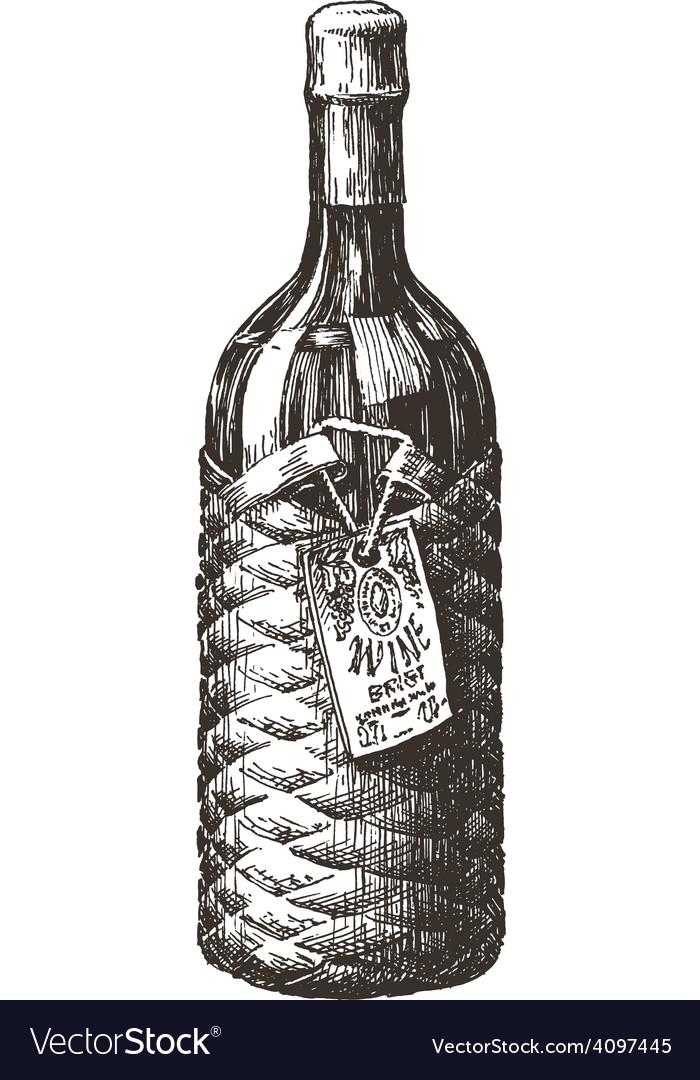 Retro wine bottle logo design template