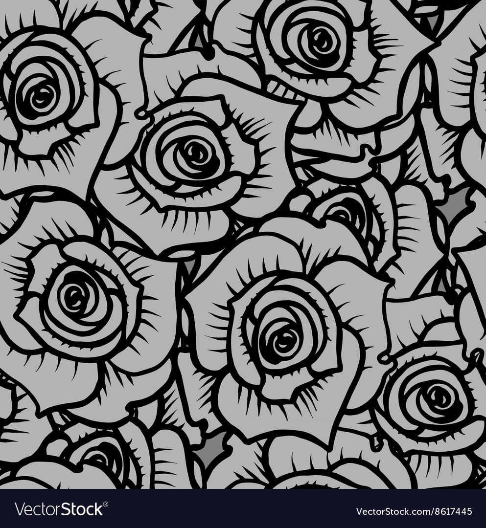 Seamless pattern of gray graphic quality roses