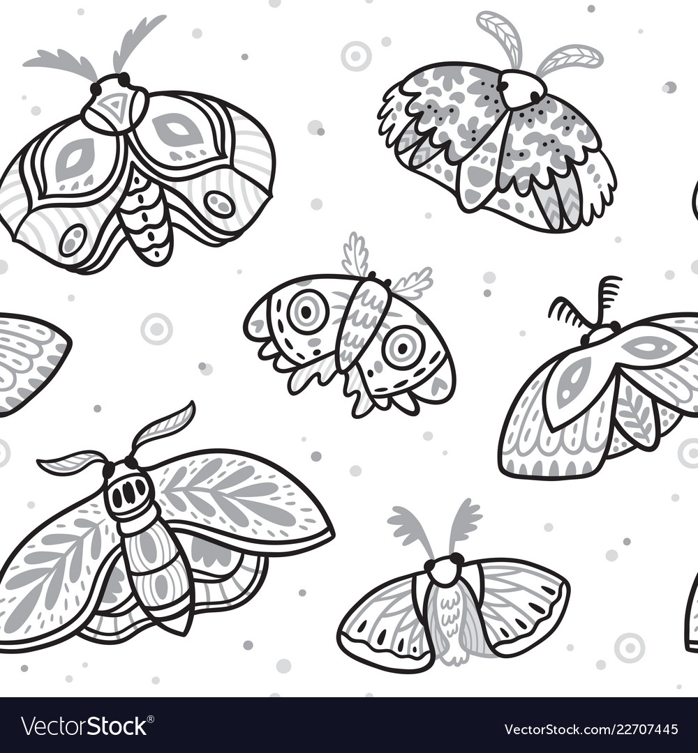 Seamless pattern with hand drawn moths