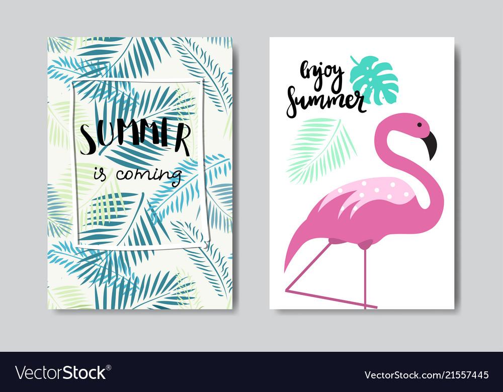 Set enjoy summer flamingo badge isolated