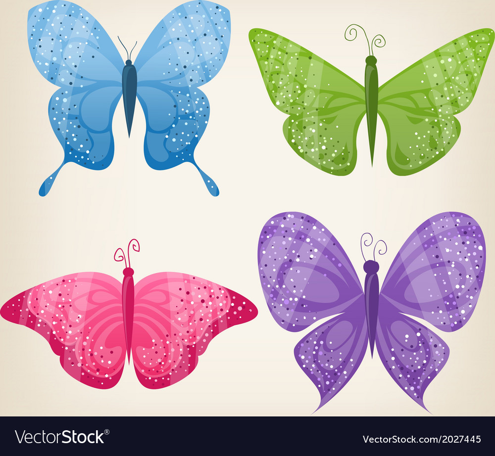 Set of four butterflies vector image