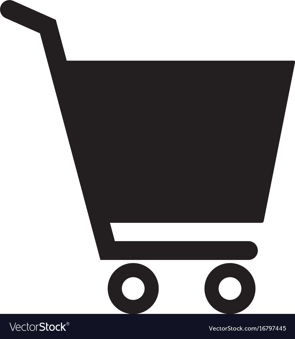 Shopping cart icon on white background flat style