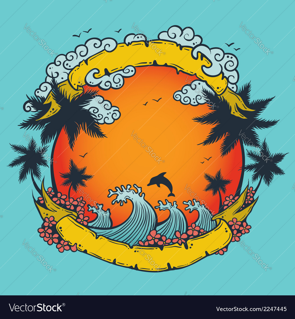 Summer composition vector image