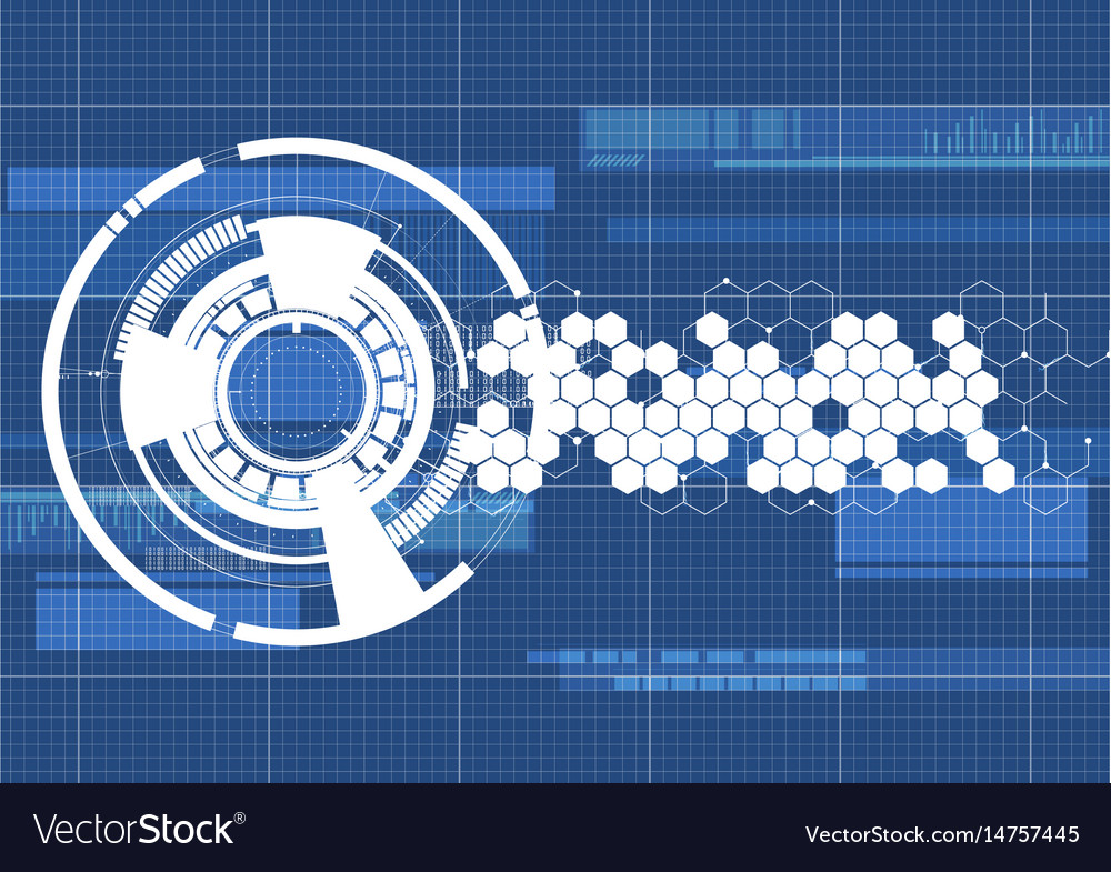Technological blueprint technical haxagon vector image