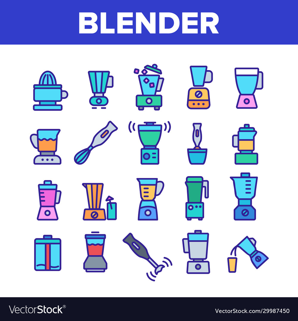 Blender kitchen tool collection icons set