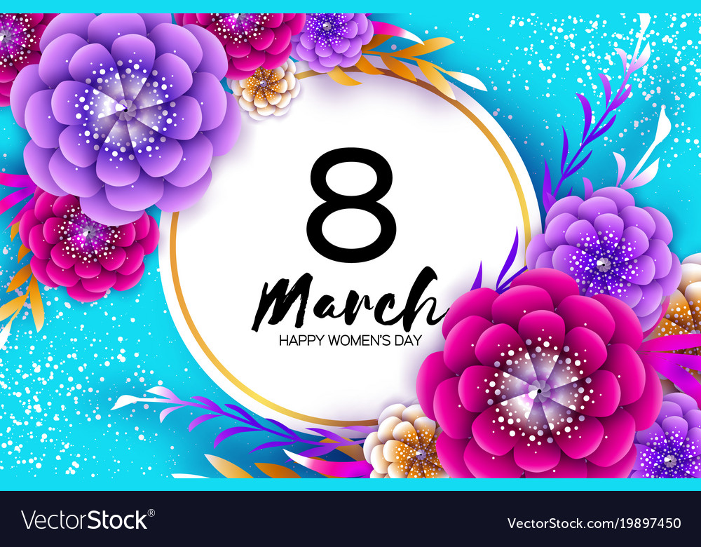 Bright colorful origami flowers happy women s day vector image mightylinksfo