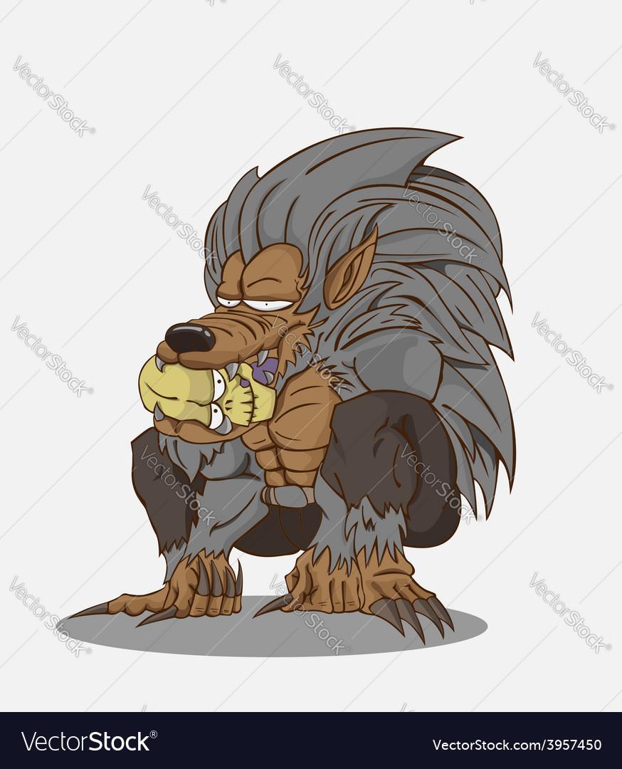 Cartoon werewolf and