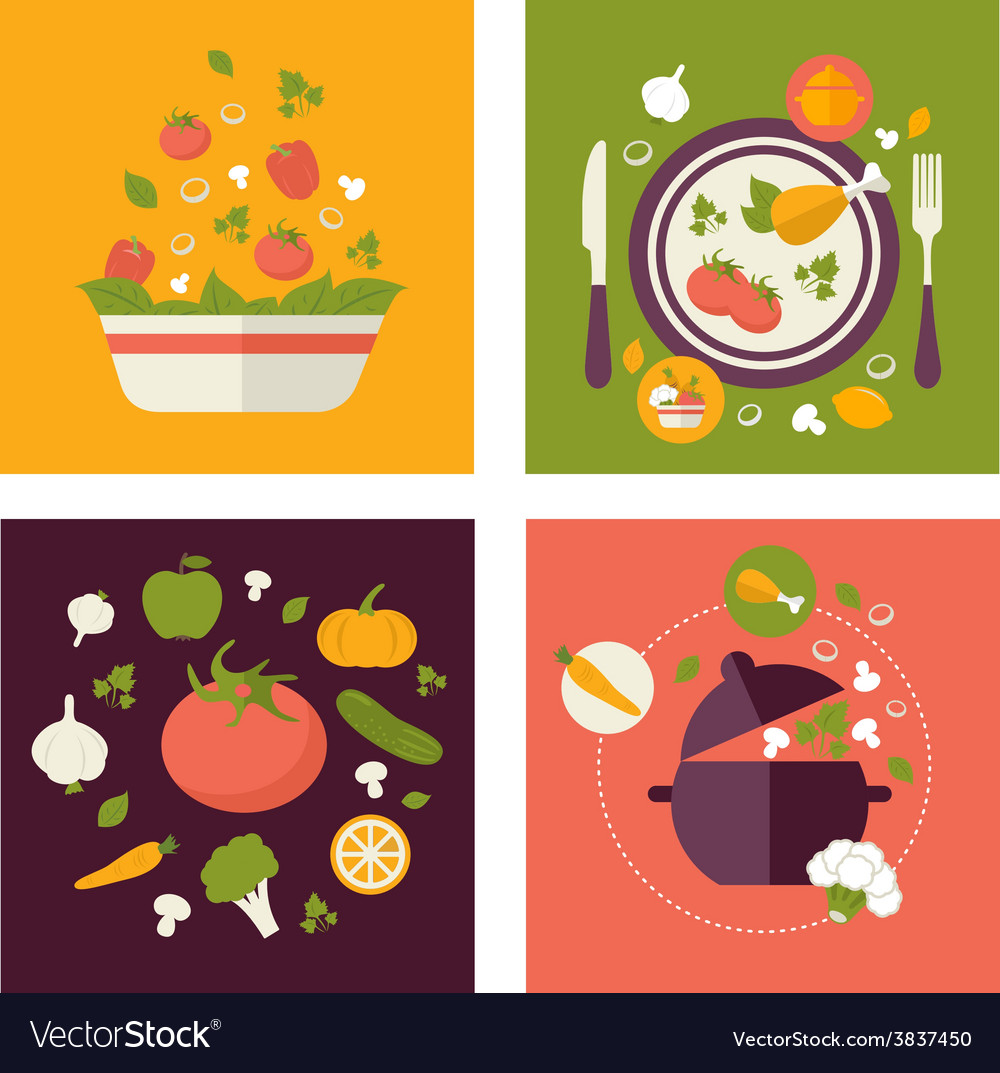 Colored fresh healthy food flat design with fruits
