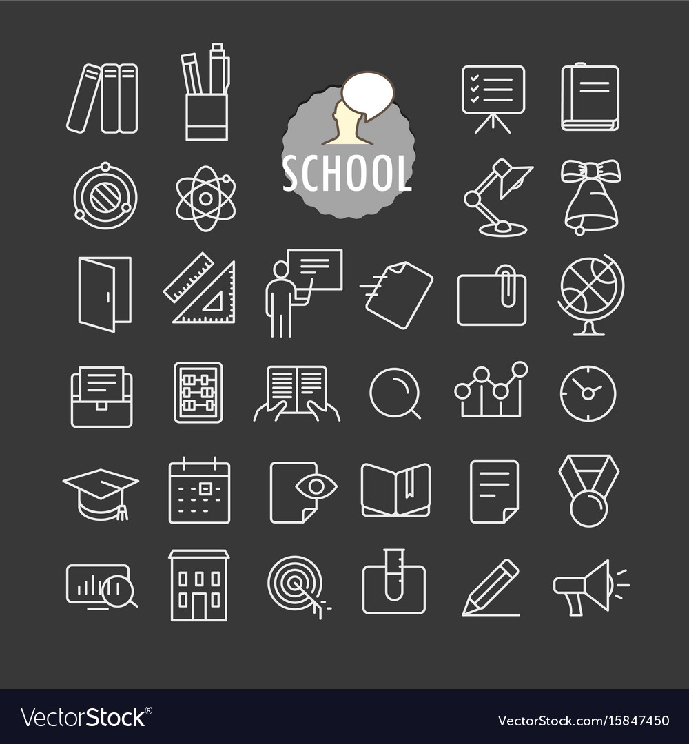 Different school icons collection web and mobile vector image