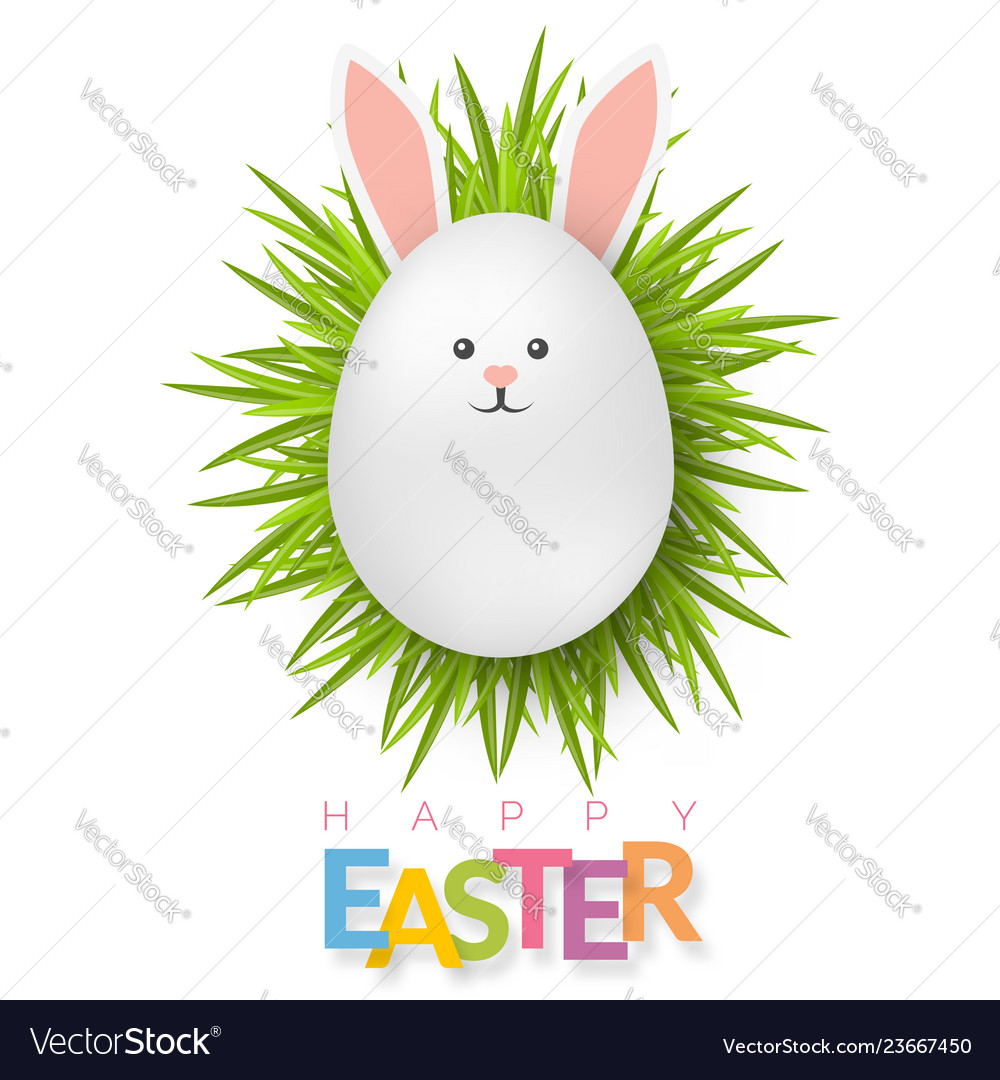 Easter background with 3d white egg on green grass