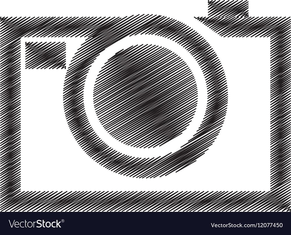 Hand draw black photograpic camera