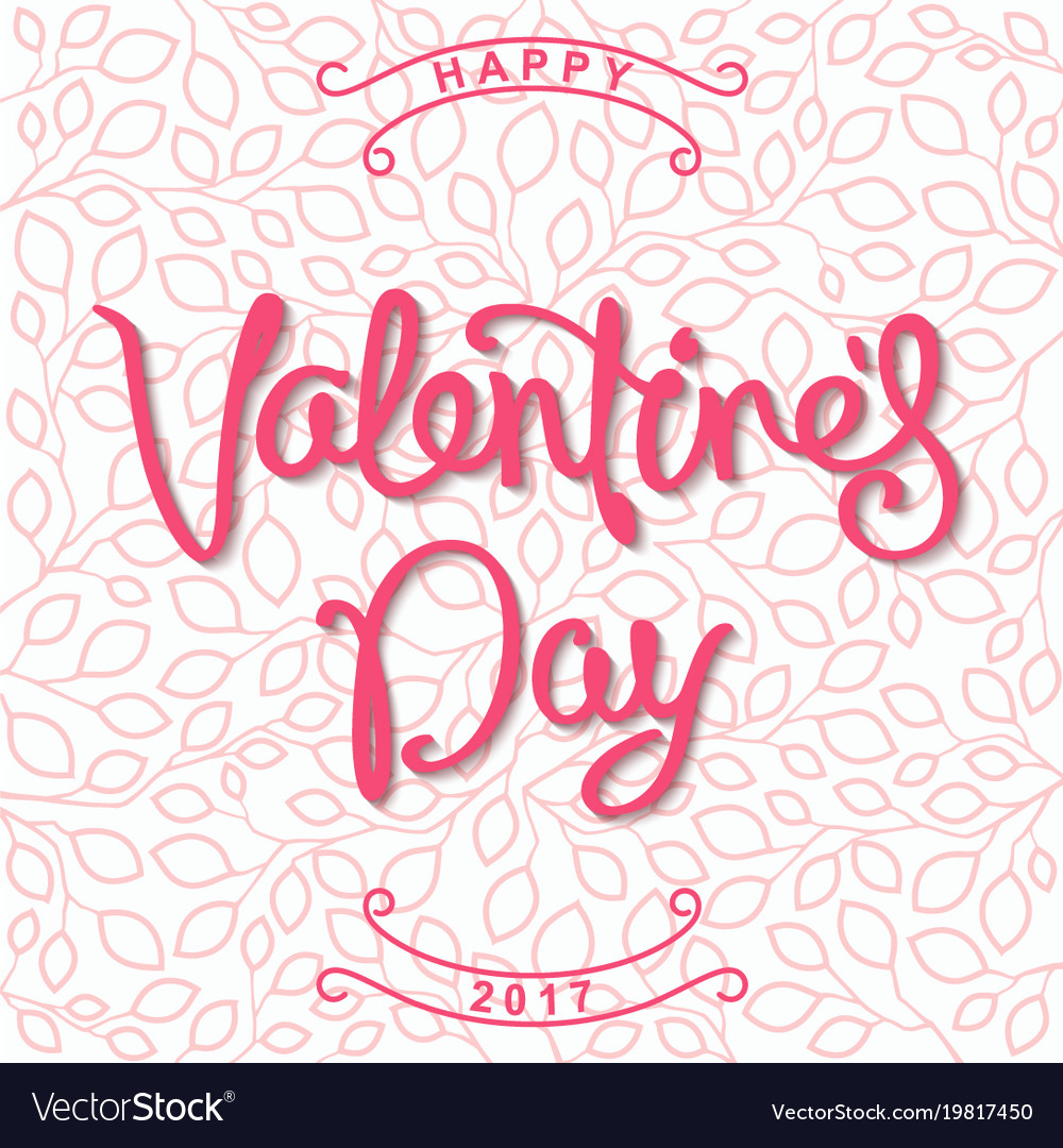 Happy valentines day stylized design with linear vector image